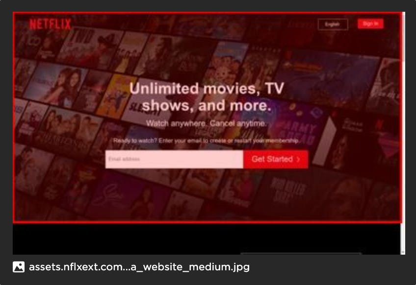 Image of Netflix website with highlighted LCP